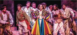 """A COLORFUL CAST — The cast of """"Joseph and the Amazing Technicolor Dreamcoat"""" performed one of the many memorable and catchy numbers in the Andrew Lloyd Webber classic musical . Photo Credit: Kaitlyn BecKer Johnson"""
