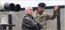 Allies — Vice President Mike Pence visited the demilitarized zone along the border of North and South Korea after meeting with military leaders and American troops in South Korea. Google Images