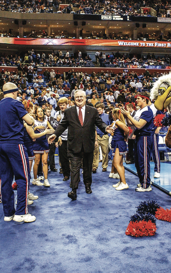 Jerry Falwell Sr. at the 2004 NCAA Tournament in Buffalo, New York.