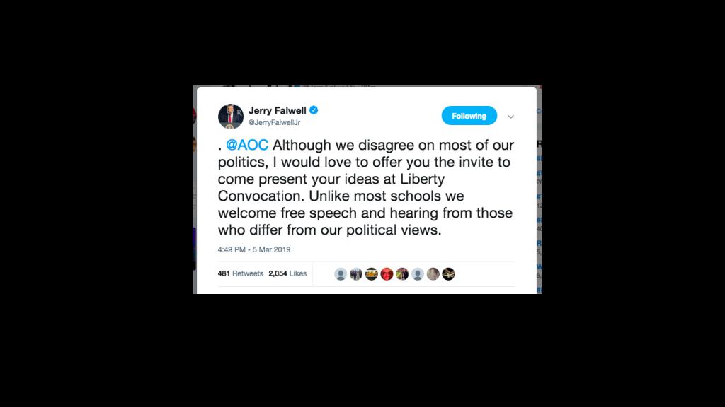 Jerry Falwell invited Alexandria Ocasio-Cortez to