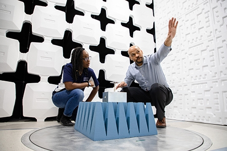 Associate Dean Carl Pettiford works with student in an electromagnetic chamber at Liberty's School of Engineering.
