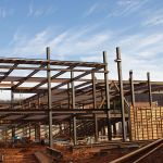 Steelwork is underway on Liberty's new Science Hall.