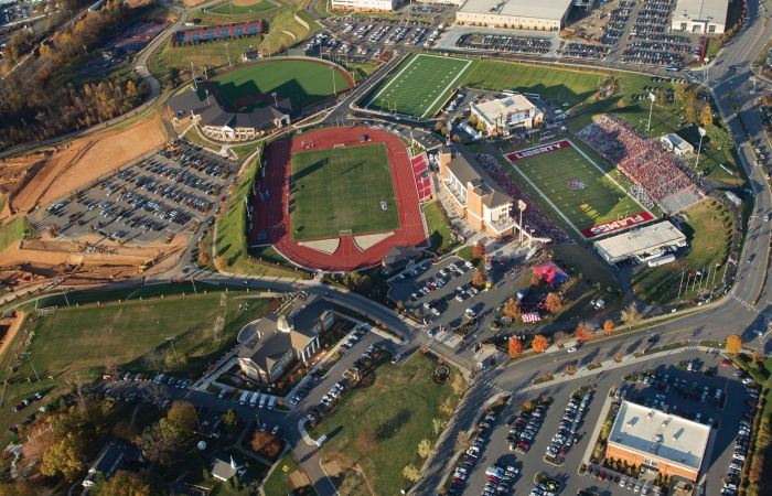 Aerial shot of Liberty's campus