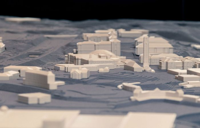 A 3D model by VMDO architects shows Liberty's Academic Commons as viewed from Green Hall.