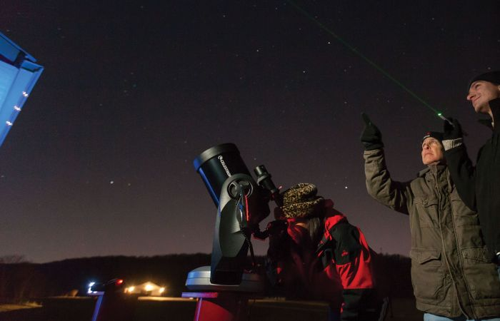 Students and a professor stargaze at Liberty's new Astronomical Observatory.
