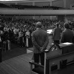 Chapel service during opening week of classes in 1975 at the Old Thomas Road Baptist Church. (
