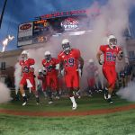 he Liberty Flames take the field at Williams Stadium for one of their seven wins in the 2011 season.