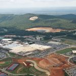 aerial view of campus in 2012