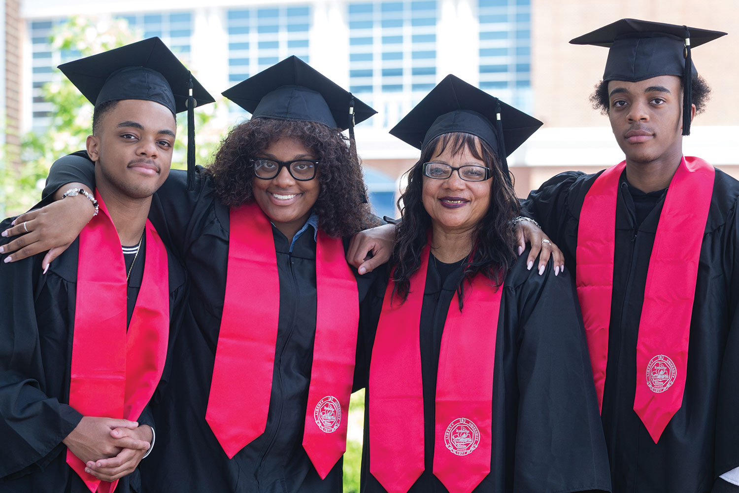 The Trezvant family completed their degrees online and traveled from Houston, Texas, to attend Commencement.