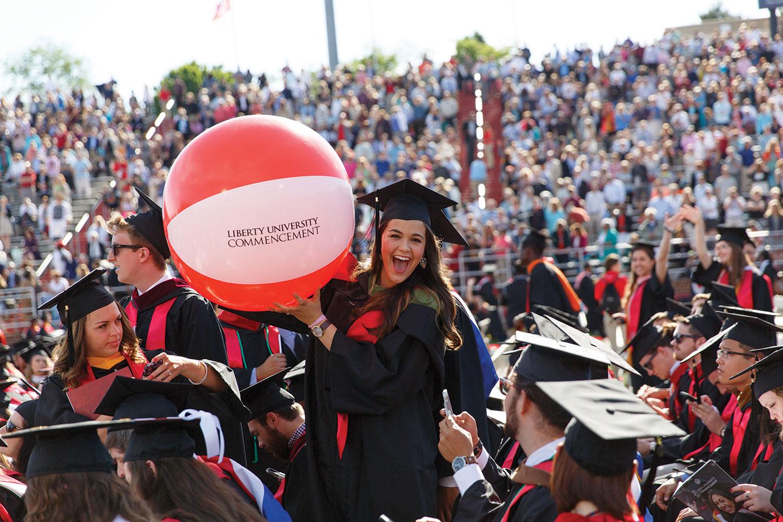 Graduates celebrate at Liberty University's 43rd Commencement.