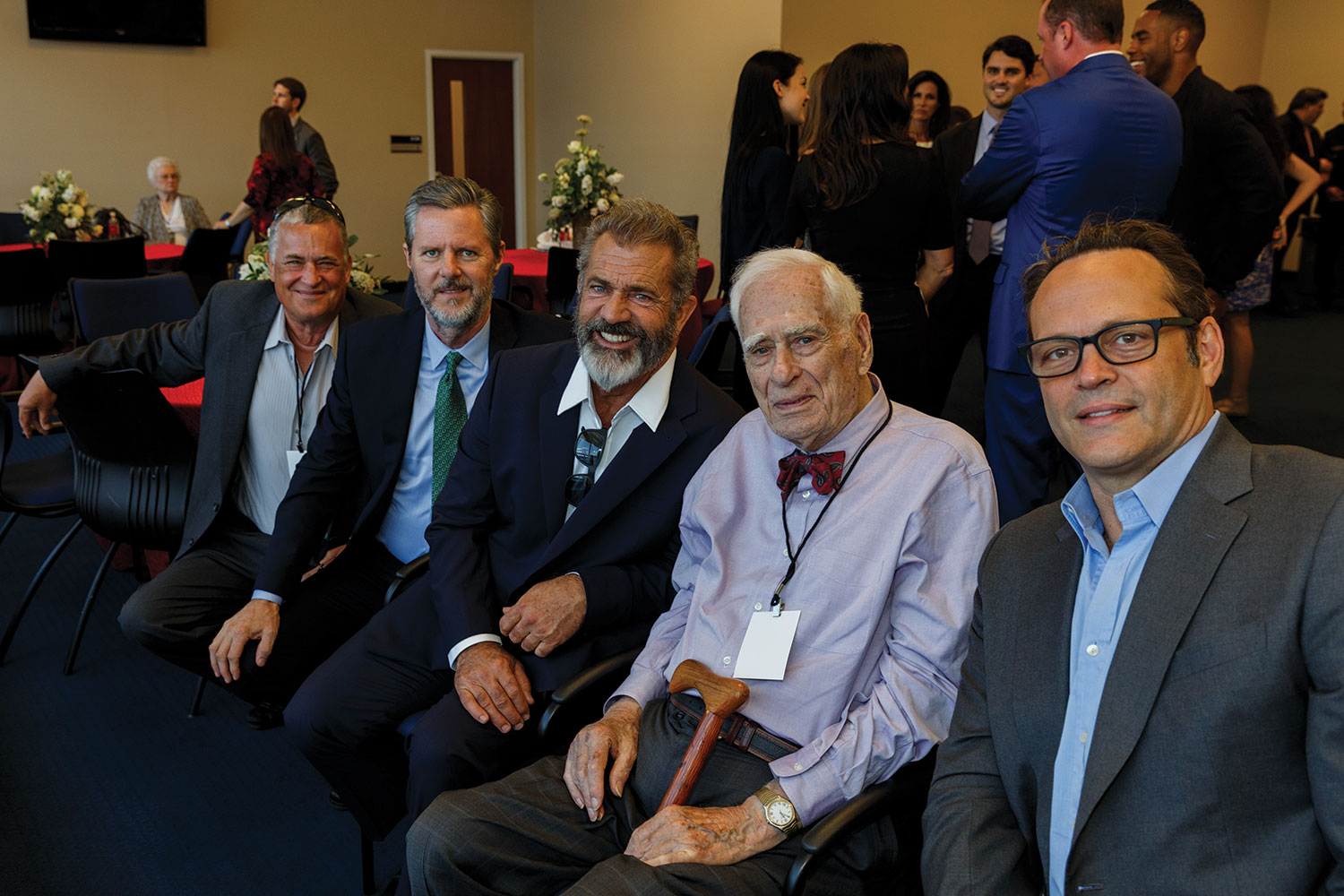 Jeffrey Rogers, President Jerry Falwell, Mel Gibson, George Rogers, and Vince Vaughn.