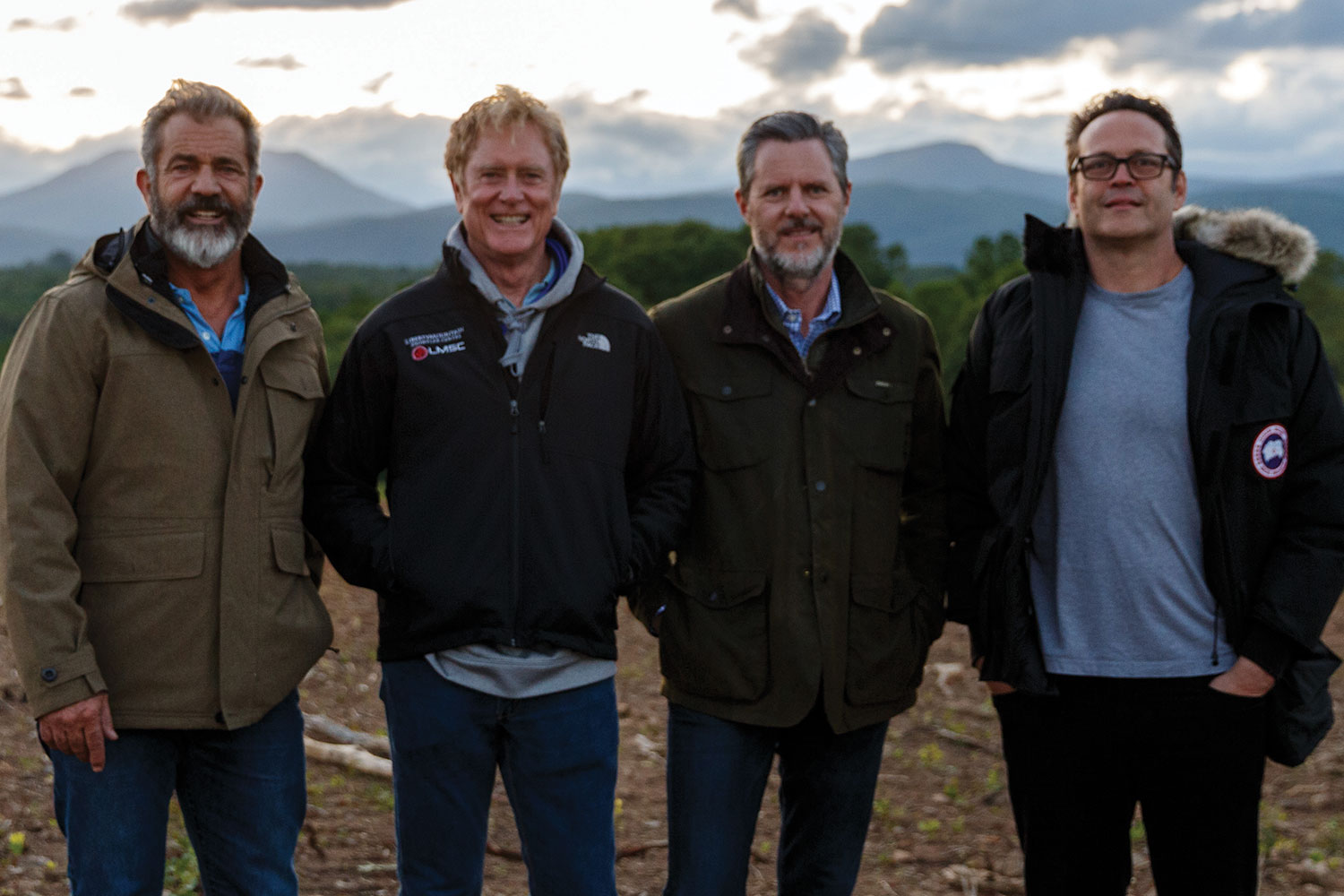 Mel Gibson, Randall Wallace, President Jerry Falwell, and Vince Vaughn on Falwell's farm.
