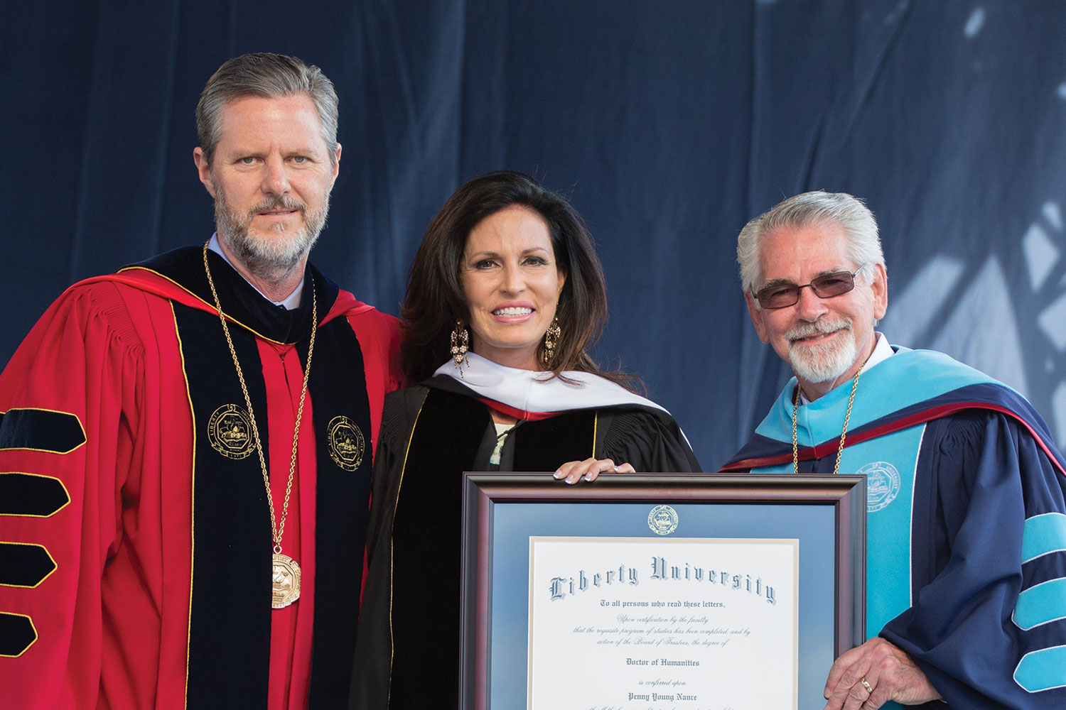 Penny Young Nance ('88), President and CEO of Concerned Women for America, is awarded an Honorary Doctor of Humanities.