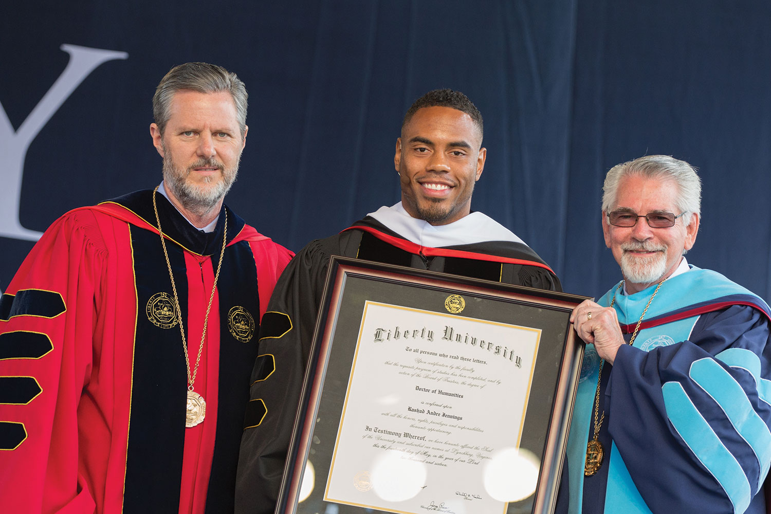 Rashad Jennings ('09), NFL running back and philanthropist, is awarded an Honorary Doctor of Humanities.