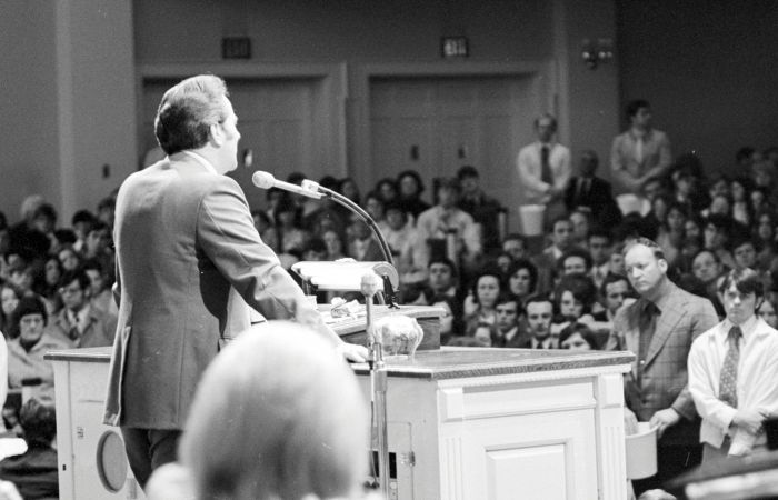 The Rev. Jerry Falwell, Liberty's founder, speaks to a crowd at Thomas Road Baptist Church in 1975.