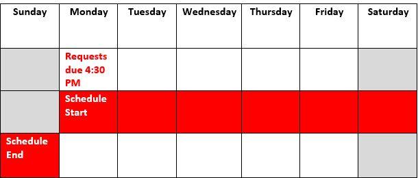 Submission deadline calendar