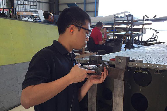 Isaac Chong, an Aviation Maintenance Technician student