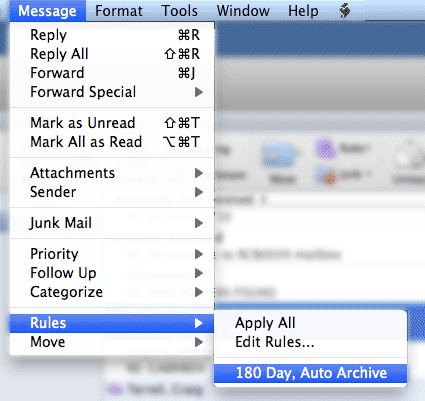 Sample Apply Rules Screen on Outlook 2016 for Mac