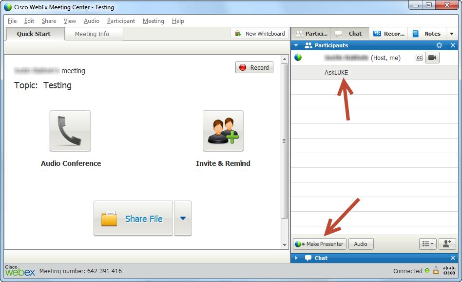 Webex meeting blank blue screen