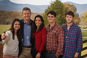 Jerry Falwell with Becki Falwell and family
