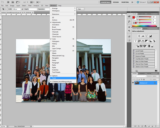Opened photo with tools highlighted