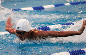 Swimmer Michael Andrew competes.