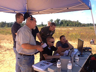 Liberty students operate Unmanned Aircraft Systems during training.