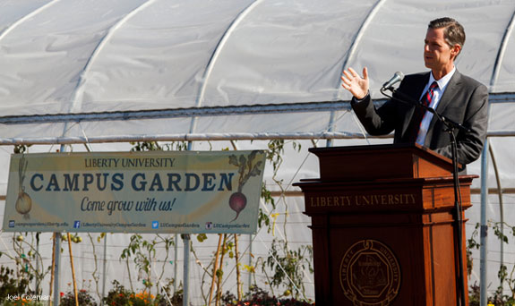 President Jerry Falwell, Jr. speaks at the Morris Campus Garden dedication.