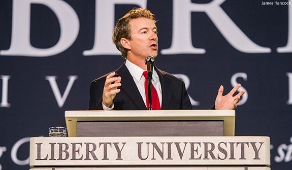 U.S. Senator Rand Paul addressing Liberty University students during Convocation.