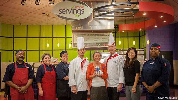 Sodexo staff at the Simple Servings station at Liberty University's Reber-Thomas Dining Hall which was named Best Wellness Concept by Food Management.