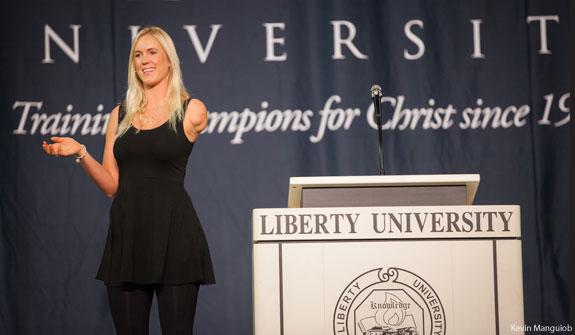 Soul Surfer Bethany Hamilton speaks at Liberty University Convocation.