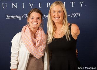 Soul Surfer Bethany Hamilton poses with a Liberty University student.