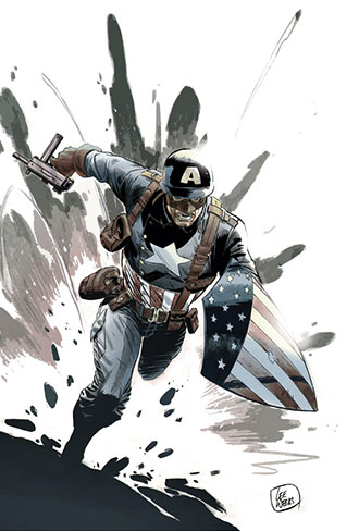 A drawing of Captain America by Lee Weeks.