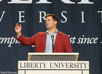 Dr. Peter Williams, warden and CEO of Tyndale House, argues the authenticity of the Gospels at Liberty University Convocation on Monday, Sept. 23.