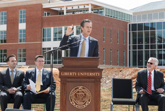 President Jerry Falwell speaks at the School of Music groundbreaking ceremony.