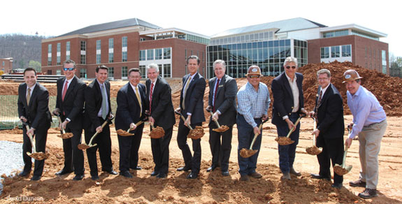 Shovel line at the groundbreaking of Liberty University's Center for Music & the Worship Arts.