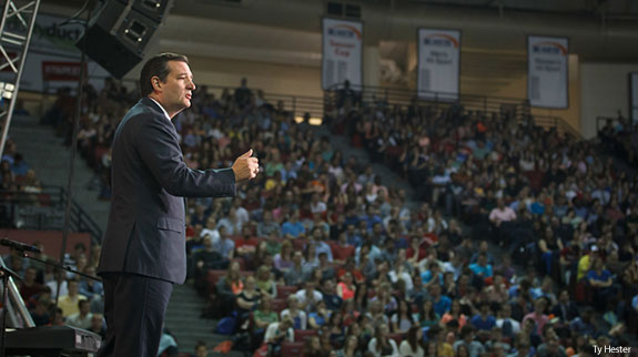 Sen. Ted Cruz speaks at Liberty University Convocation before a crowd of over 10,000.
