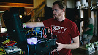Ten Liberty University students and graduates provided technical assistance on the set.
