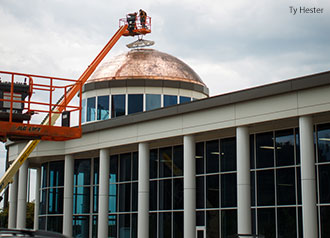 An outside view of the LaHaye Student Union dome covering the climbing wall.