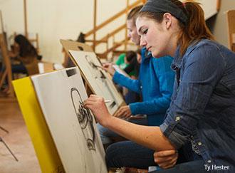 Students in a Liberty University Department of Studio & Digital Arts classroom.