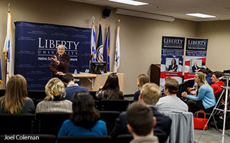Holocaust survivor Irving Roth addresses Liberty Univeristy Stand With Israel Club members and government students.