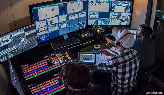 Liberty students produce a hockey webcast.