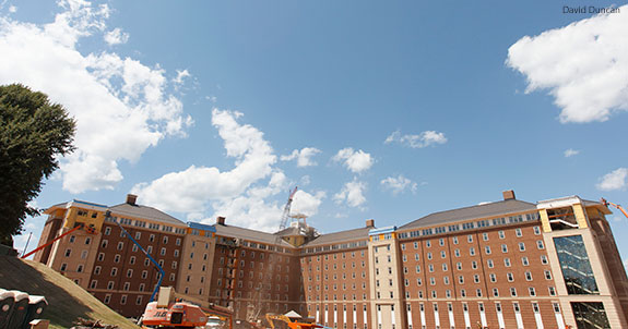Liberty University's new high-rise residence hall nears its final stages of construction.