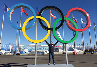 Pat Doney at the Olympics in Sochi, Russia.