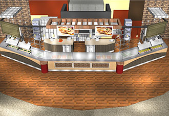 Artist's rendering of one of the upgrades to Liberty's Reber-Thomas Dining Hall.