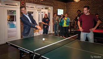 Liberty University President Jerry Falwell, Jr. plays pingpong in David's Place.