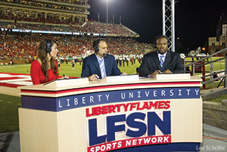 LFSN anchors during a Flames football game.