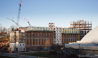 Liberty's first high-rise residence hall takes shape.
