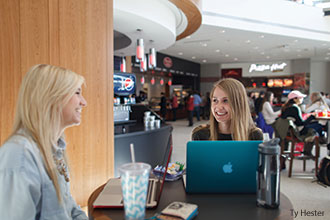 Students hang out in the Jerry Falwell Library's Tinney Cafe.