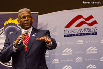 Allen West speaking to Liberty University students.